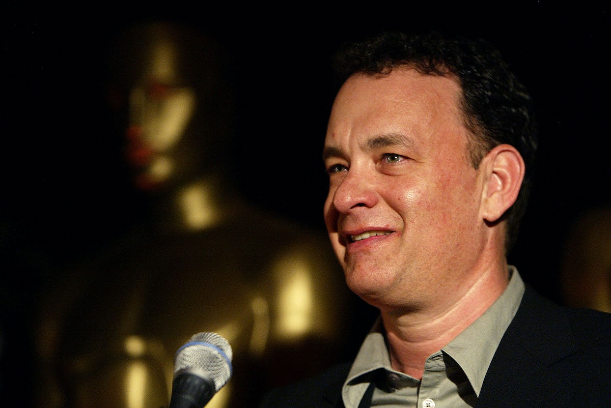 Tom Hanks speaks at a reception to honor the Academy Award nominees in the Best Foreign Language Film category in 2004 in Beverly Hills, Calif.