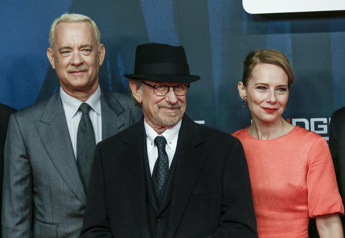 Tom Hanks, Steven Spielberg, and Amy Ryan attend the 'Bridge of Spies' world premiere in Berlin in 2015
