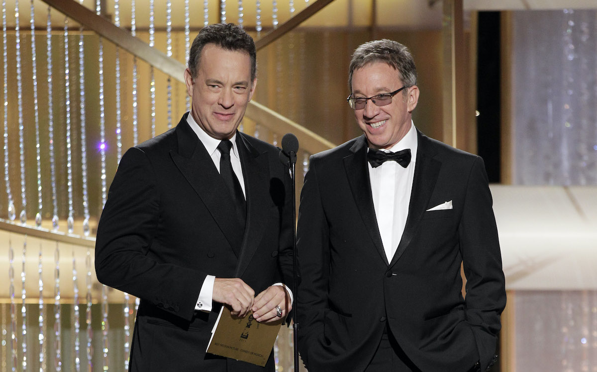 'Toy Story' stars Tom Hanks and Tim Allen on stage during the 68th Annual Golden Globe Awards
