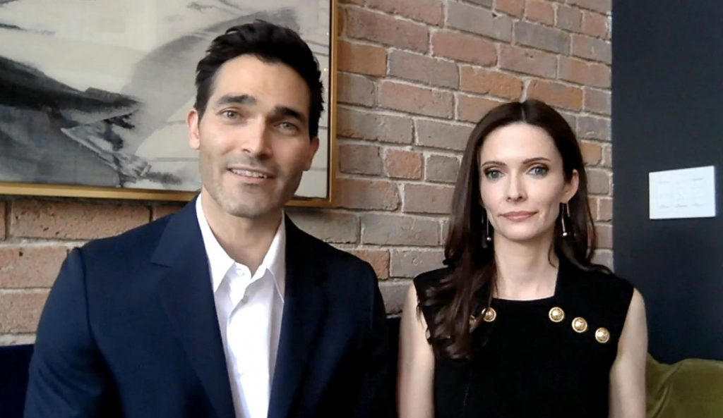 In this screengrab, 'Superman & Lois' actors Tyler Hoechlin and Elizabeth Tulloch speak at the 26th-annual Critics Choice Awards on March 7, 2021