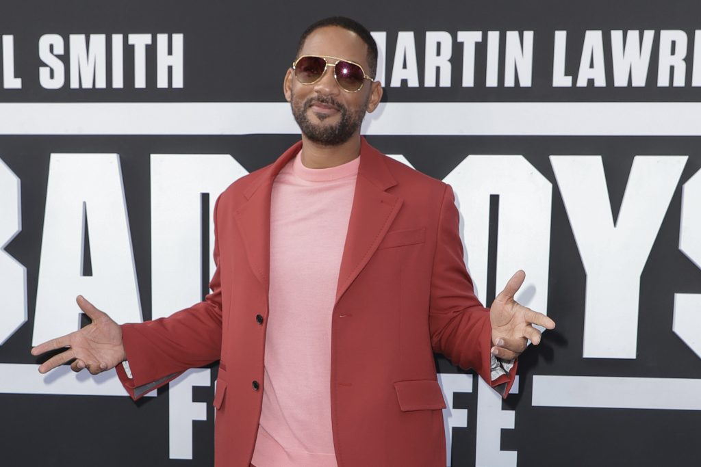 Will Smith in a red jacket at the Bad Boys for Life premiere