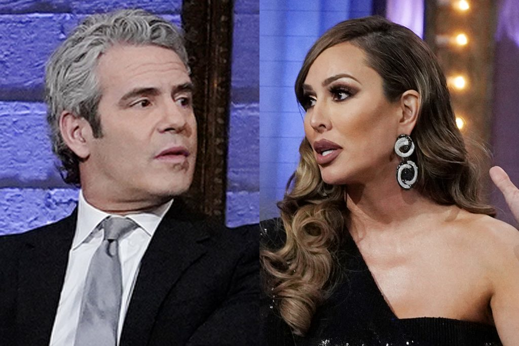 Andy Cohen and Kelly Dodd during the 'RHOC' Season 15 reunion