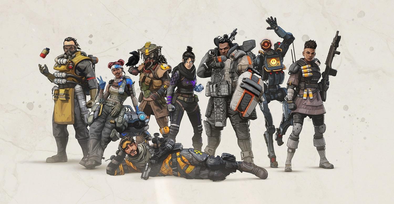 The original Apex Legends crew posing for a promotional image