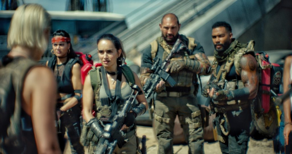 'Army of the Dead' with Nora Arnezeder as Lilly, Samantha Win as Chambers, Ana De La Reguera as Cruz, Dave Bautista as Scott Ward, and Omari Hardwick as Vanderohe