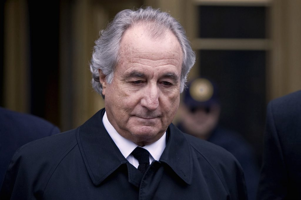 Bernard Madoff leaving court in New York. Bernie Madoff's Ponzi scheme is one of the most notorious in the U.S.