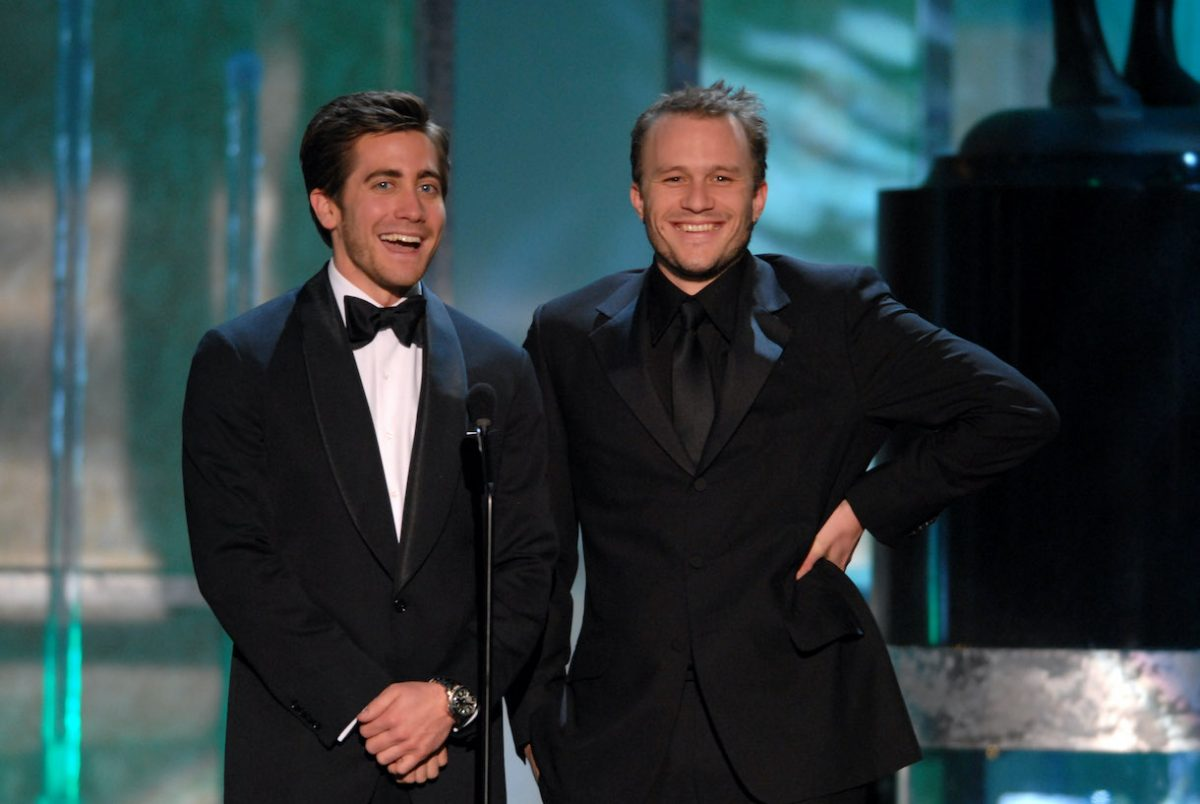 Jake Gyllenhaal and Heath Ledger introduce a clip of 'Brokeback Mountain', nominee for Outstanding Performance by a Cast in a Motion Picture