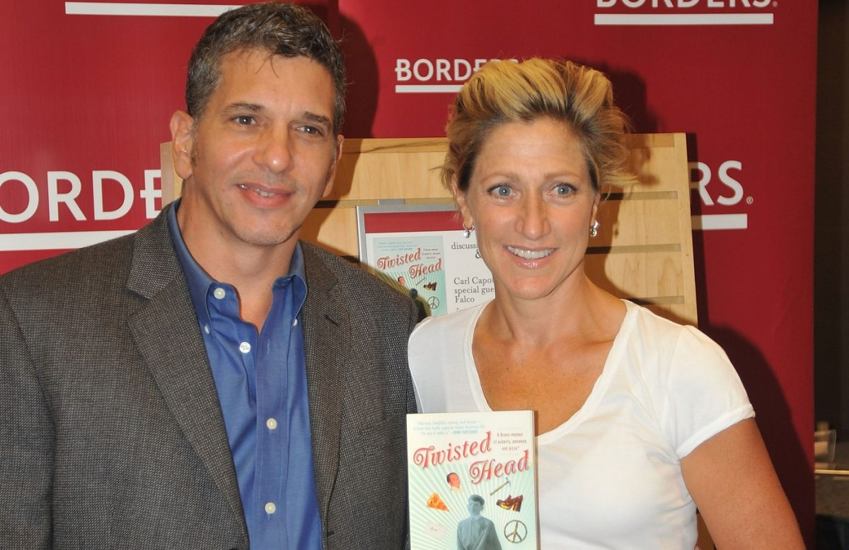 Carl Capotorto and Edie Falco smile for the camera at a book event in 2009