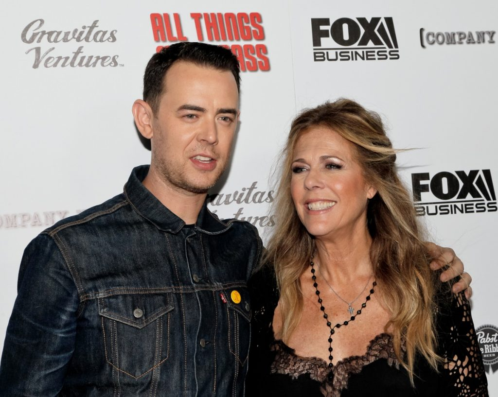 Colin Hanks and step-mom Rita Wilson attend the premiere of 'All Things Must Pass' on October 15, 2015, in Los Angeles, California.