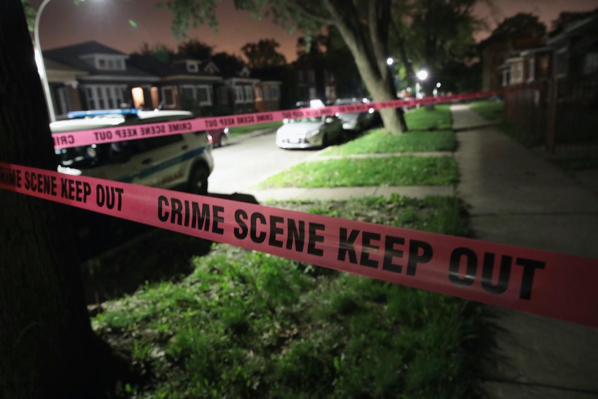 Crime scene tape outside a Chicago crime scene in 2017