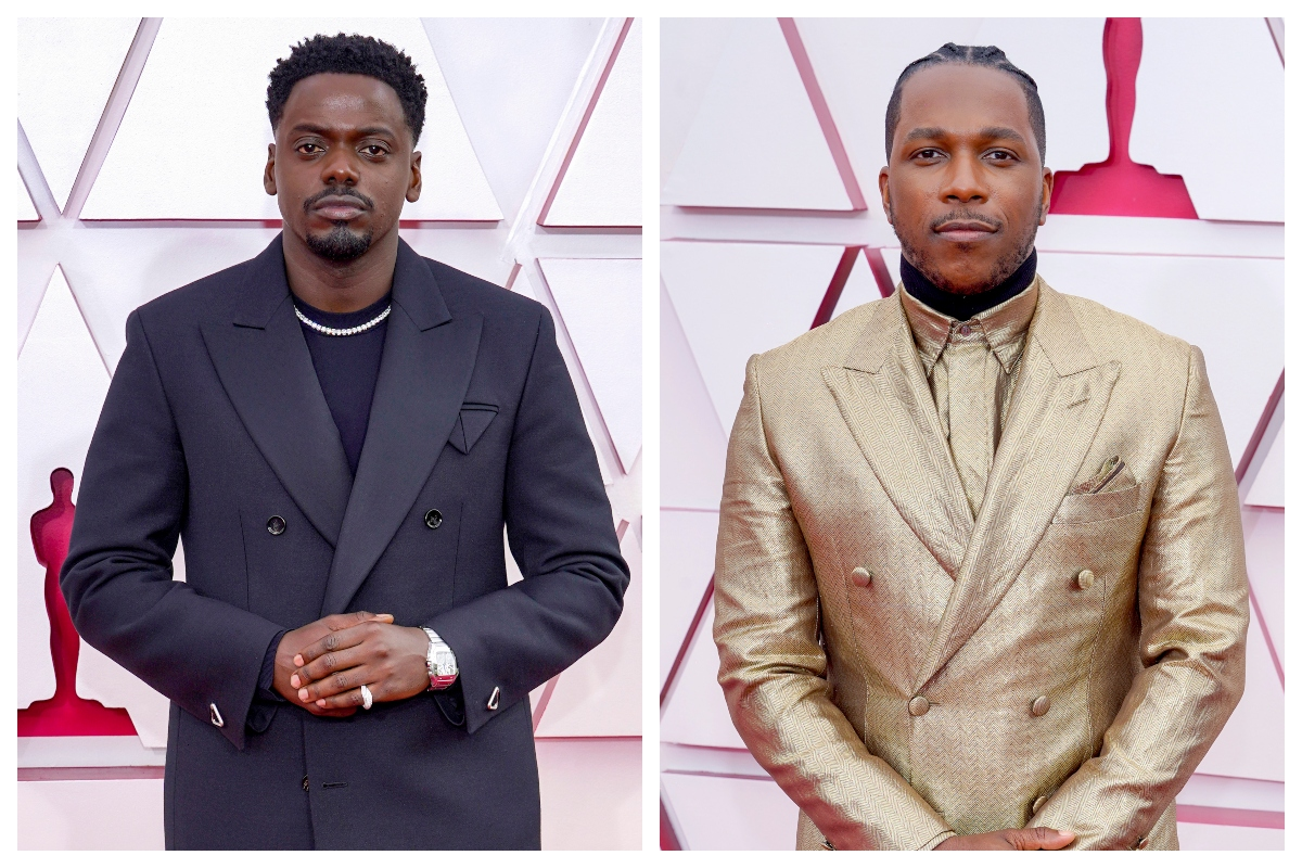 L: Daniel Kaluuya and R: Leslie Odom Jr. the 93rd Annual Academy Awards on April 25, 2021, in Los Angeles, California.