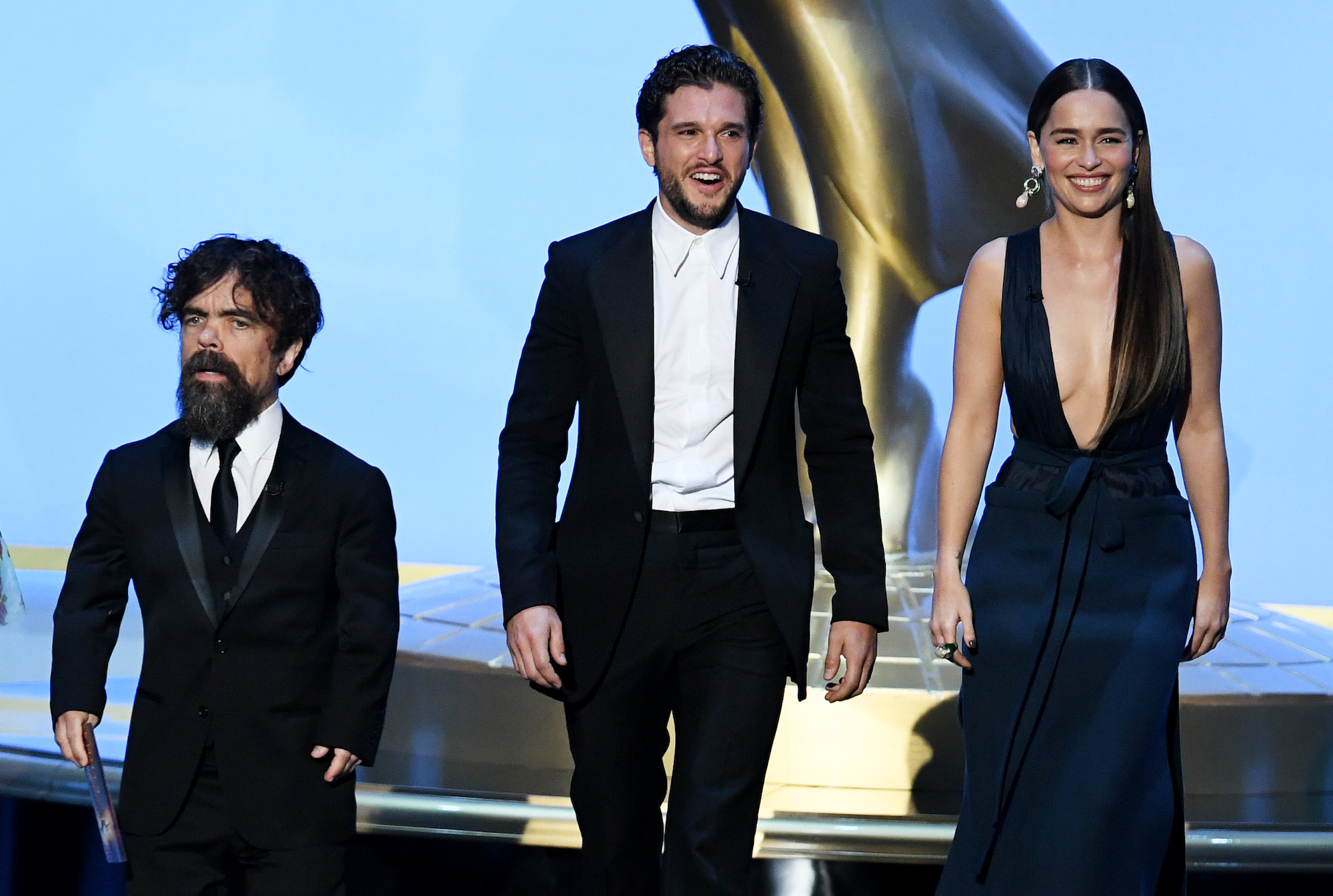Peter Dinklage, Kit Harington, and Emilia Clarke at the 71st Emmy Awards on Sept. 22, 2019