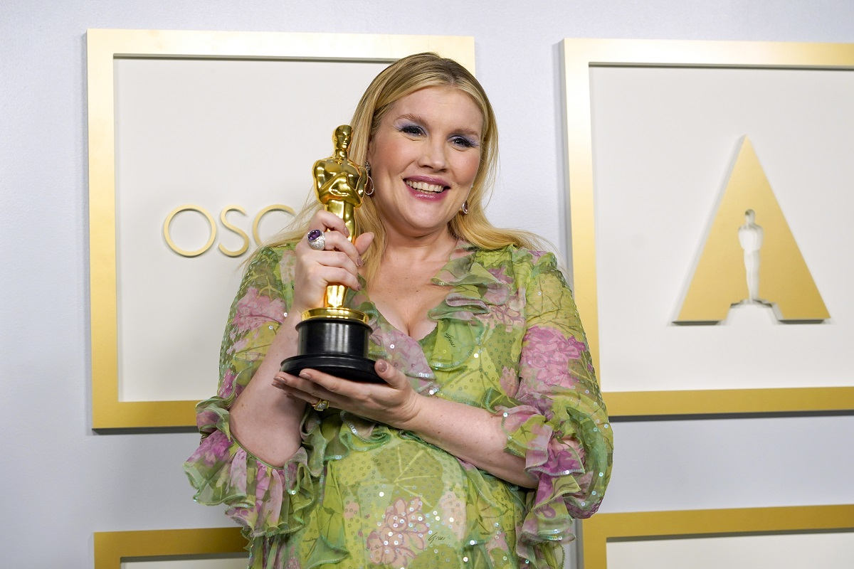 Emerald Fennell, winner of Best Original Screenplay for 'Promising Young Woman,' poses in the press room at the Oscars on Sunday, April 25, 2021, at Union Station in Los Angeles.