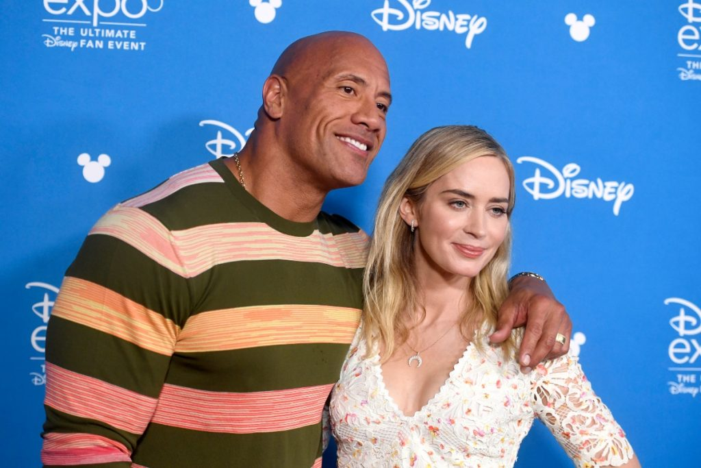 Dwayne Johnson and Emily Blunt attend Go Behind the Scenes with Walt Disney Studios during D23 Expo 2019