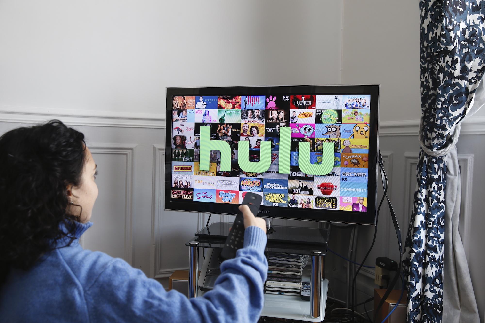 Photo illustration of Hulu logo on a TV, Nov. 20, 2019 in Paris, France