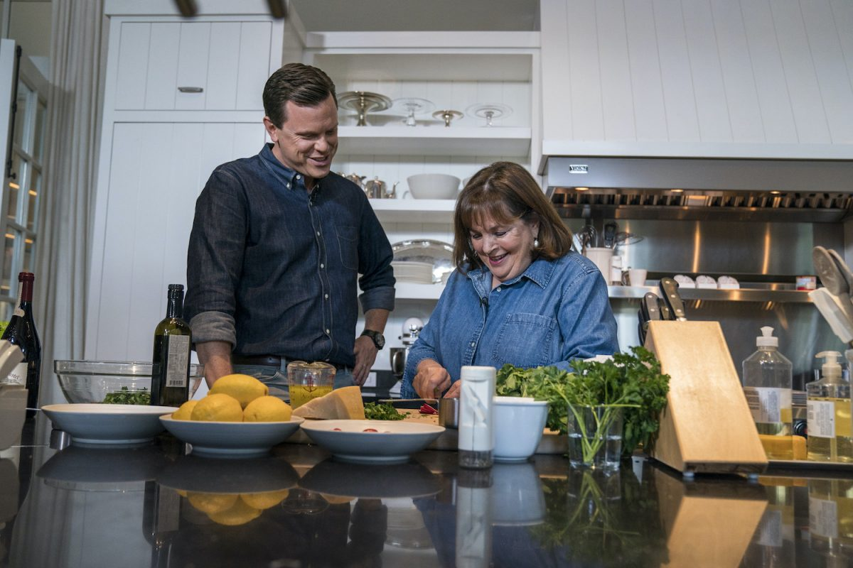 Ina Garten and Willie Geist and Ina Garten cook in the Barefoot Contessa star's kitchen during a Sunday Today segment