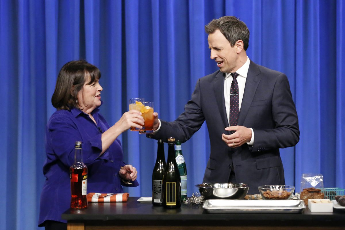 'Barefoot Contessa' Ina Garten and Seth Meyers during a cooking segment on 'Late Night with Seth Meyers'