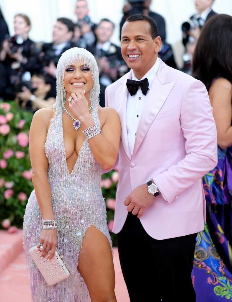 Jennifer Lopez and Alex Rodriguez on the red carpet at the Met Gala