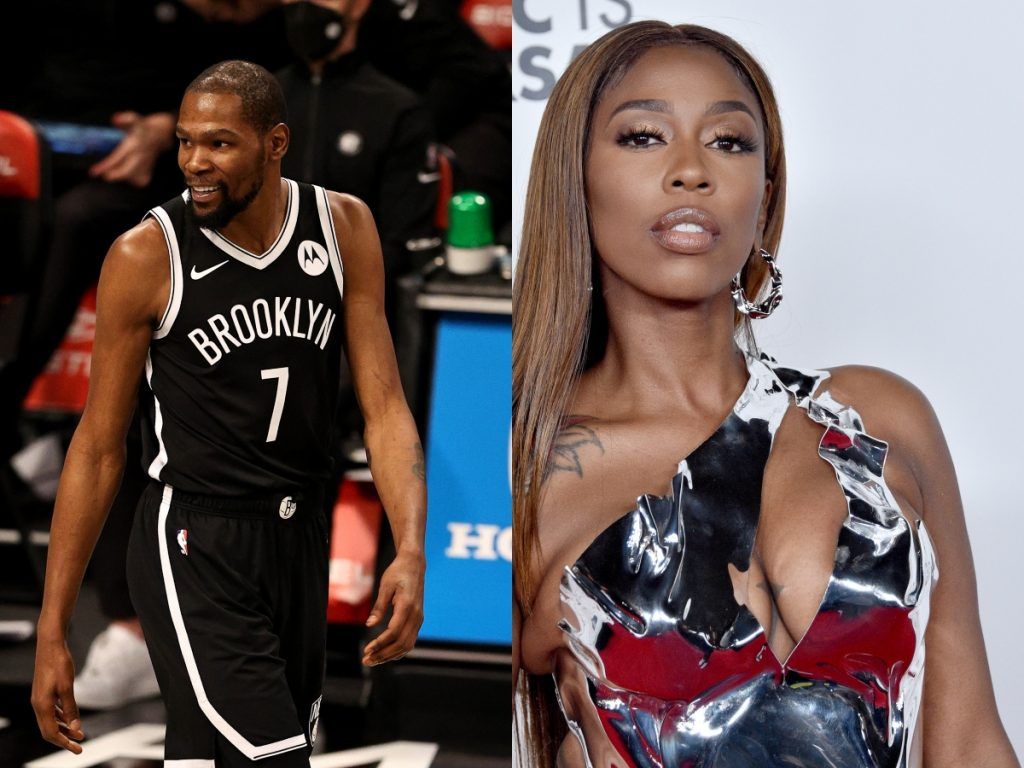 Kevin Durant of the Brooklyn Nets reacts in the second half against the Miami Heat; Kash Doll attends the Universal Music Group 2020 Grammy After Party