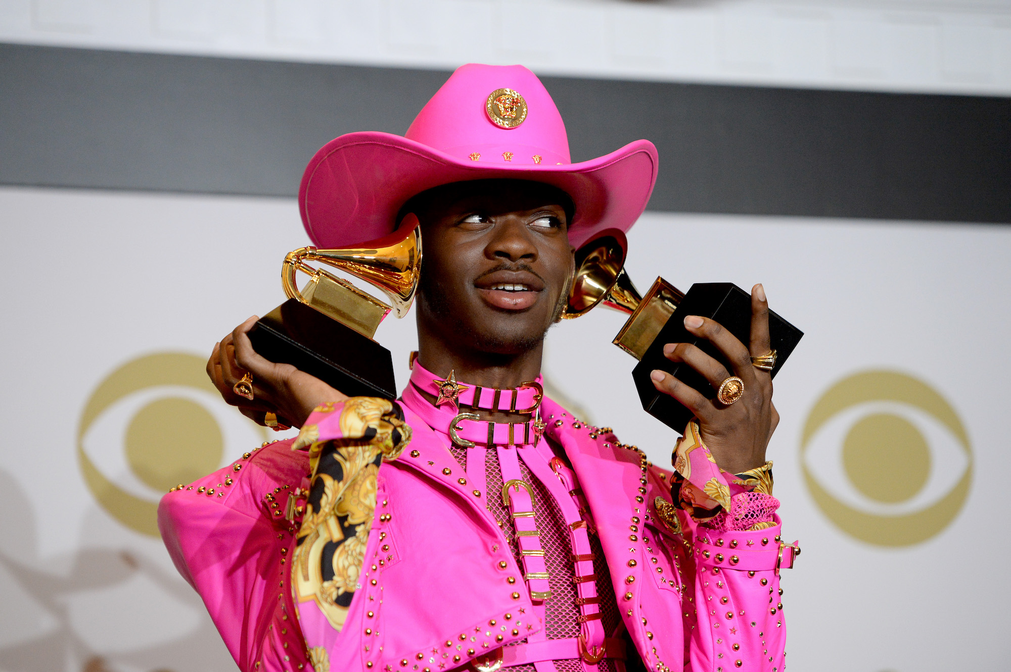 Lil Nas X poses with his Grammys at the 62nd Annual GRAMMY Awards on Jan. 26, 2020