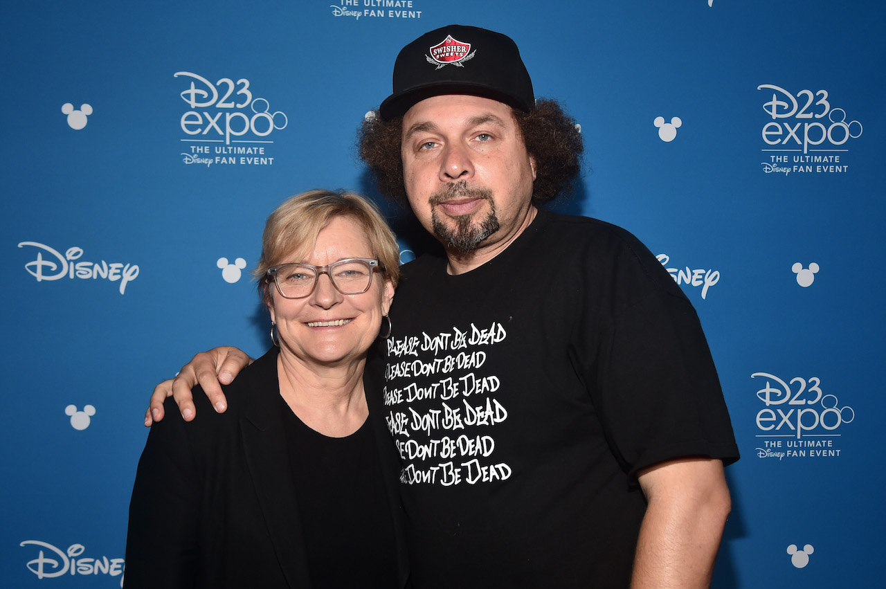 (L-R) Director Kari Skogland and Head writer Malcolm Spellman of 'The Falcon and The Winter Soldier' at the Disney+ Showcase