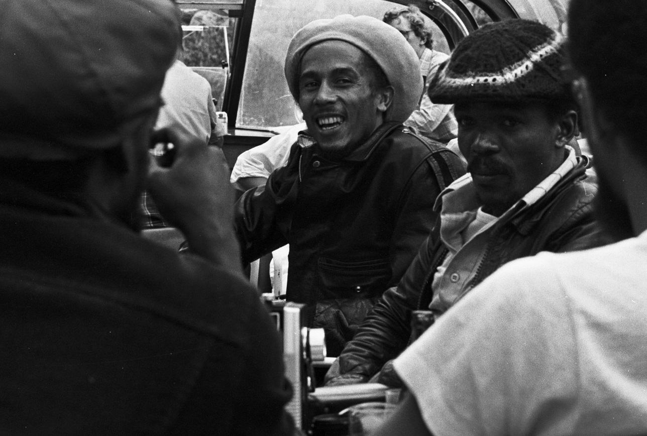 Bob Marley and bandmates on a riverboat in 1976