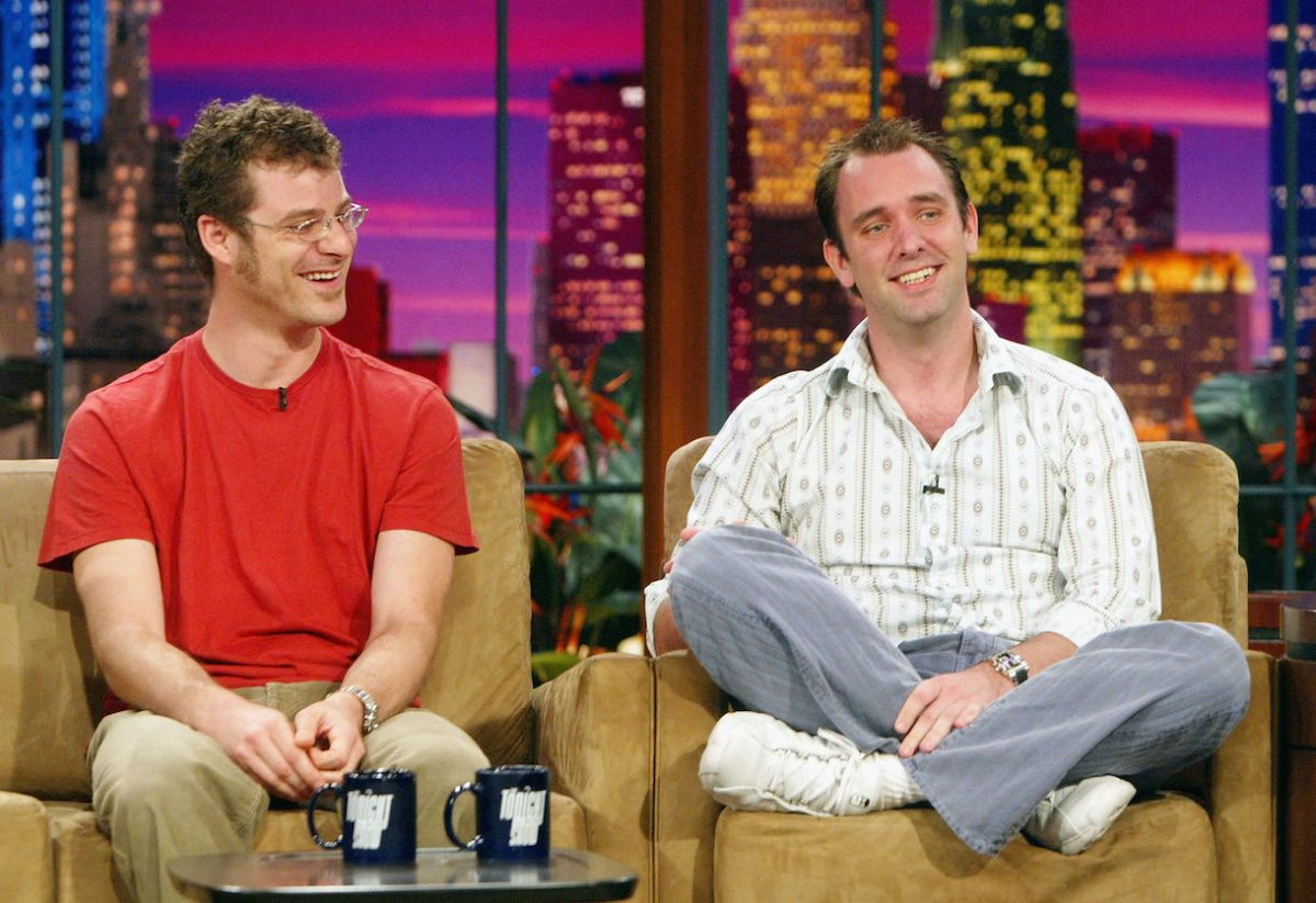 """'South Park' creators Matt Stone (L) and Trey Parker appear on """"The Tonight Show with Jay Leno"""" at the NBC Studios on October 5, 2004"""