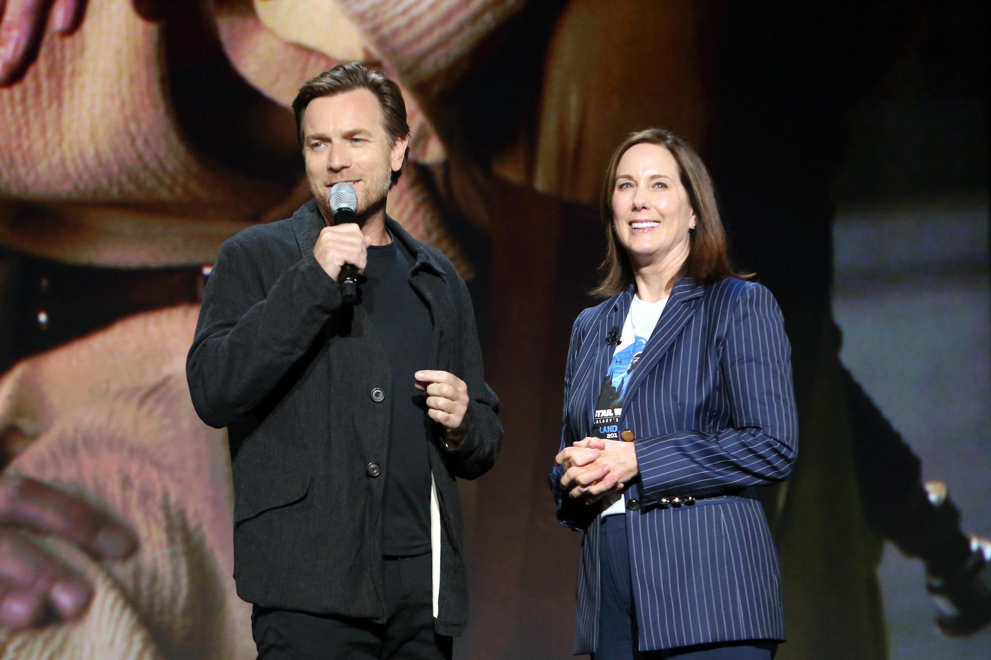 Ewan McGregor of the 'Obi-Wan Kenobi' series and Lucasfilm president Kathleen Kennedy at Disney's D23 EXPO 2019