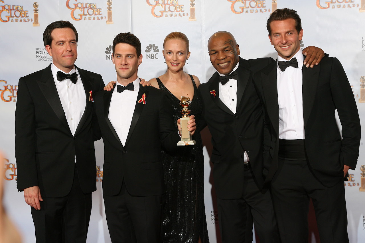 (L-R) Actor Ed Helms, Justin Bartha, actress Heather Graham, former boxer Mike Tyson and actor Bradley Cooper at the 67th Annual Golden Globe Awards
