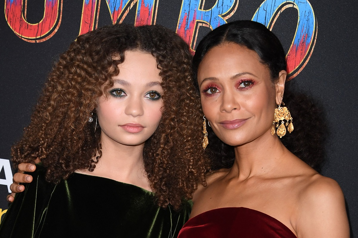 Nico Parker (L) and Thandiwe Newton (R) arrive for the world premiere of Disney's 'Dumbo' on March 11, 2019, in Hollywood.