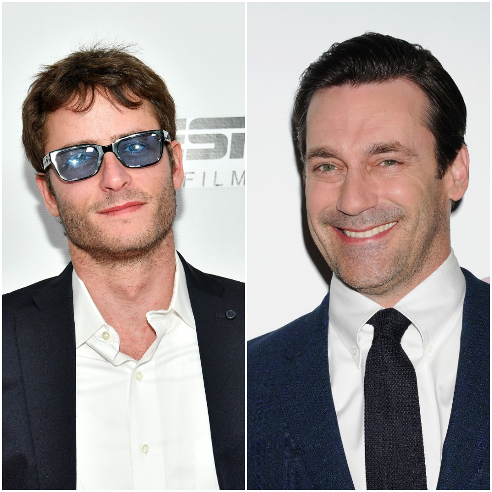 (L to R): Michael Aloni who portrays Akiva Shtisel on Netflix's 'Shtisel' poses for a photo wearing sunglasses at the screening of the 2018 film 'Virgins' at the Tribeca Film Festival in New York City; Jon Hamm who played Don Draper in AMC's 'Mad Men' at the 2014 Season 7 premiere of the show in Hollywood, California
