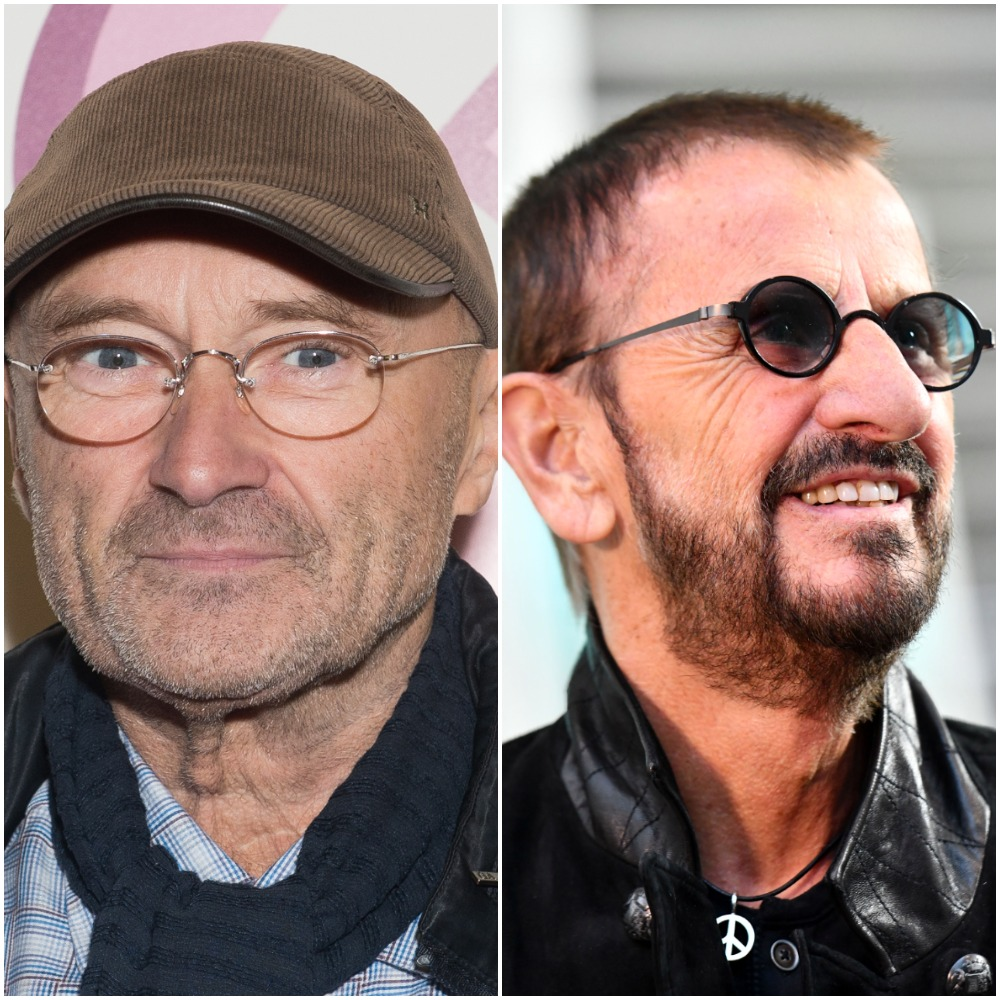 Head shots of, left to right, English drummer, singer, and songwriter Phil Collins in 2014 wearing a brown corduroy ball cap and wired spectacles and former Beatles drummer and activist Ringo Starr in 2019, wearing violet-tinted sunglasses and a leather jacket