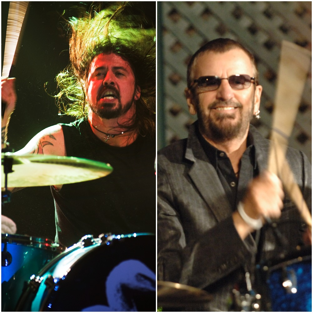 (L to R): Dave Grohl on the drums in 2009; Ringo Starr at his drum kit