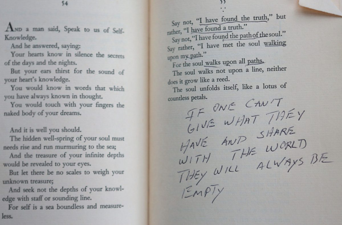 Elvis Presley's copy of The Prophet with his notes