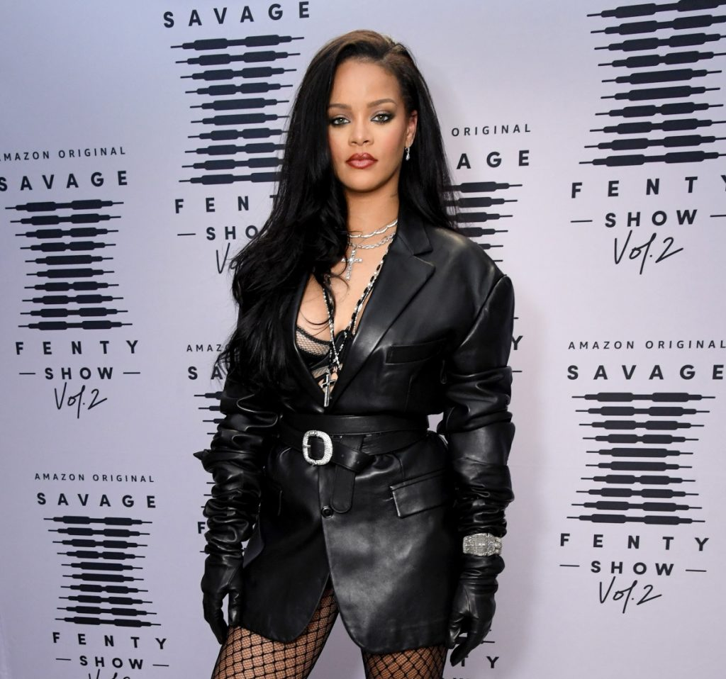 Rihanna attends press day for the Savage X Fenty Show Vol. 2 in October 2020