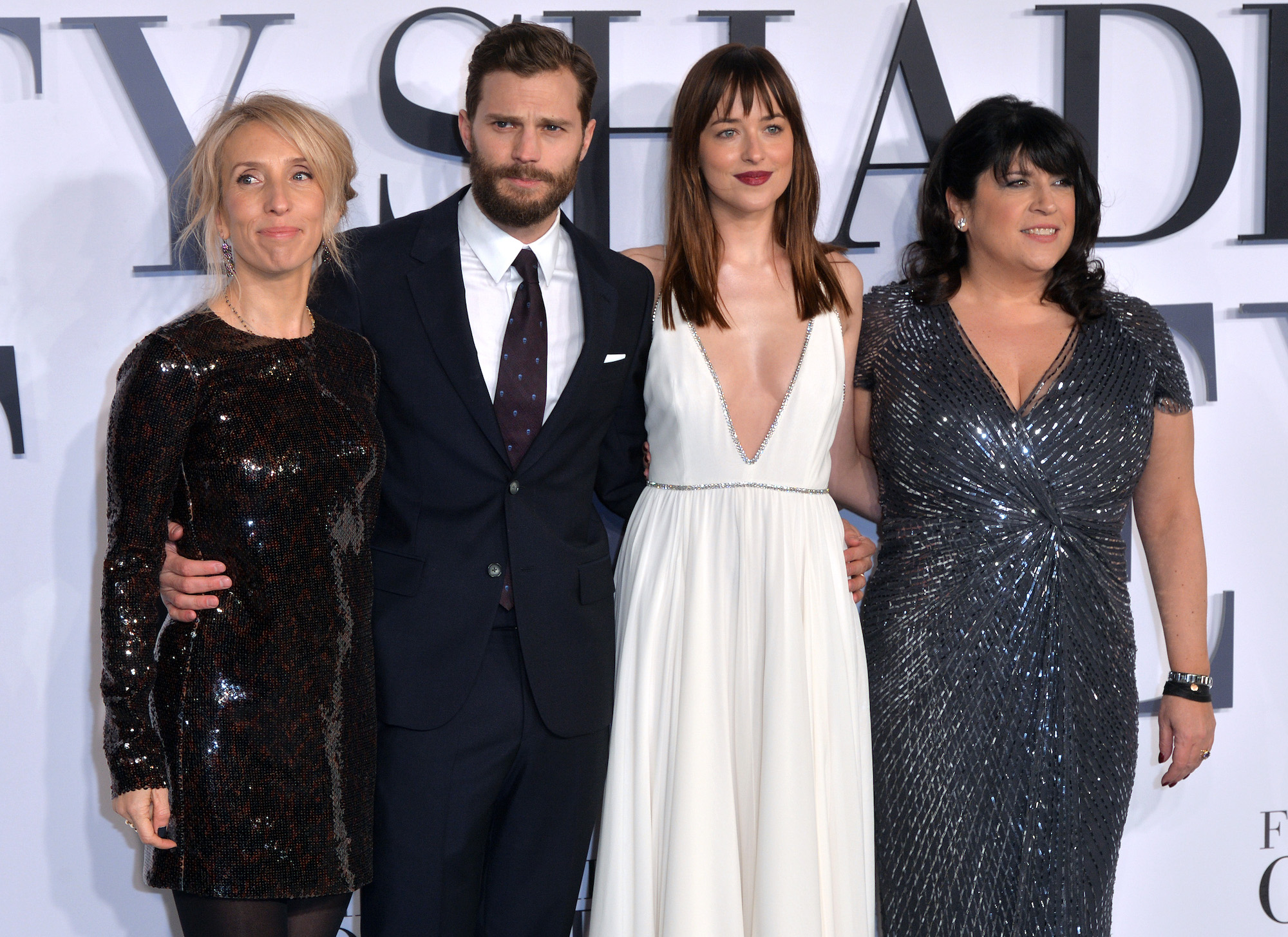 "Sam Taylor-Johnson, Jamie Dornan, Dakota Johnson, and E.L. James at the UK Premiere of ""Fifty Shades Of Grey"" on Feb. 12, 2015"