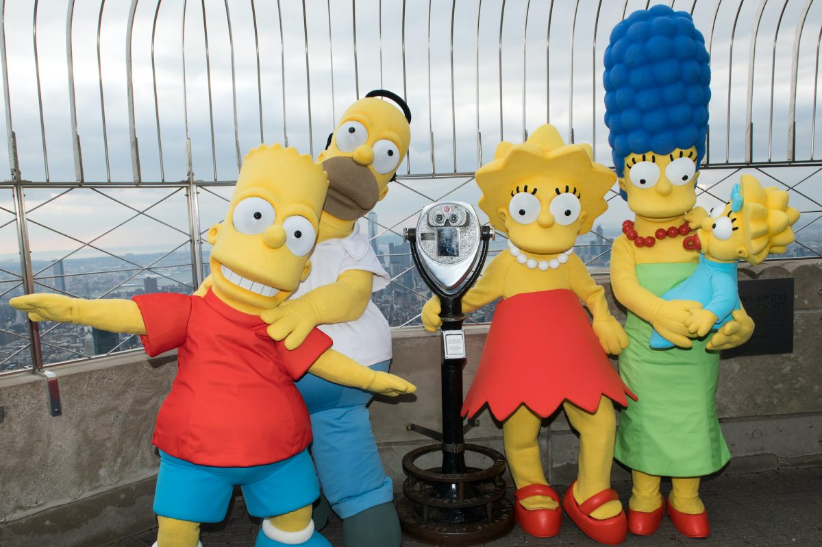 Bart Simpson, Homer Simpson, Lisa Simpson, Marge Simpson and Maggie Simpson visit The Empire State Building