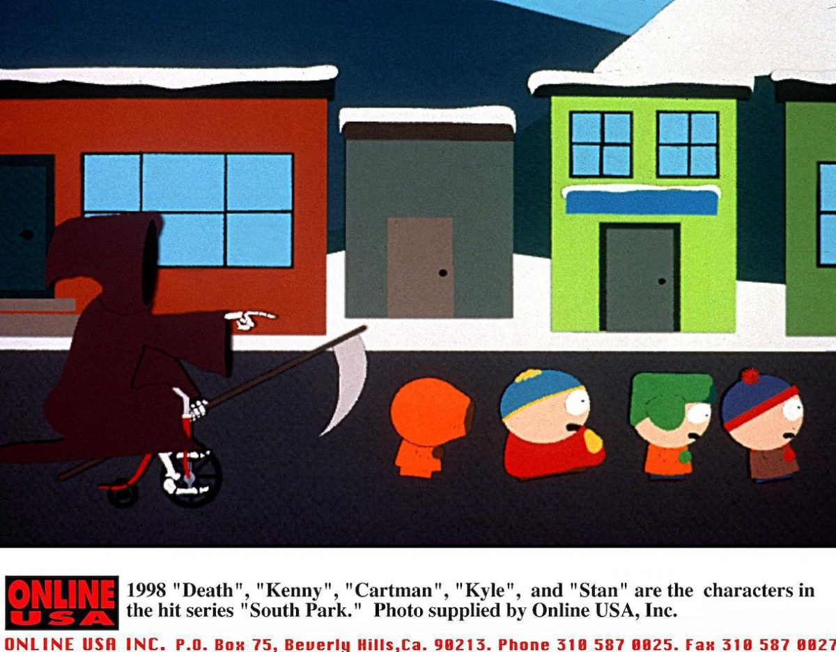"""1998 """"Death"""", Kenny, Cartman, Kyle, and Stan are the characters in the hit series 'South Park'"""