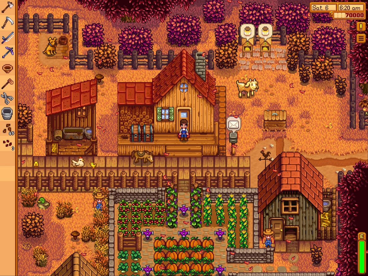 A farmer prepares for a busy day in ConcernedApe's Stardew Valley