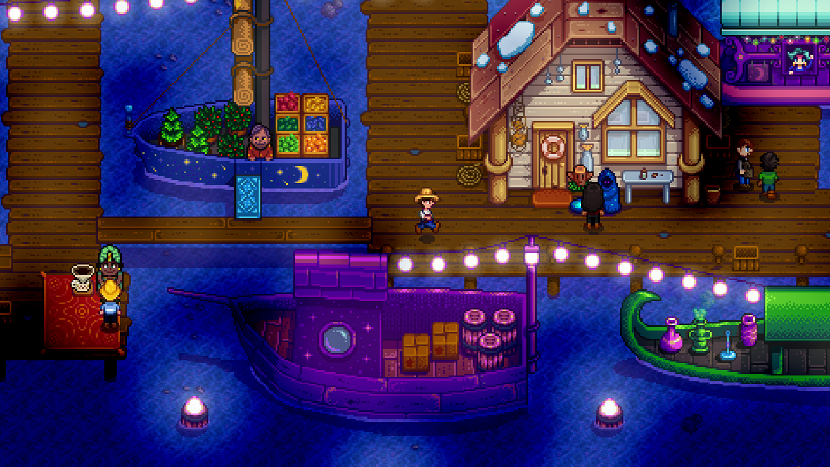 A player explores the new Night Market in 'Stardew Valley'