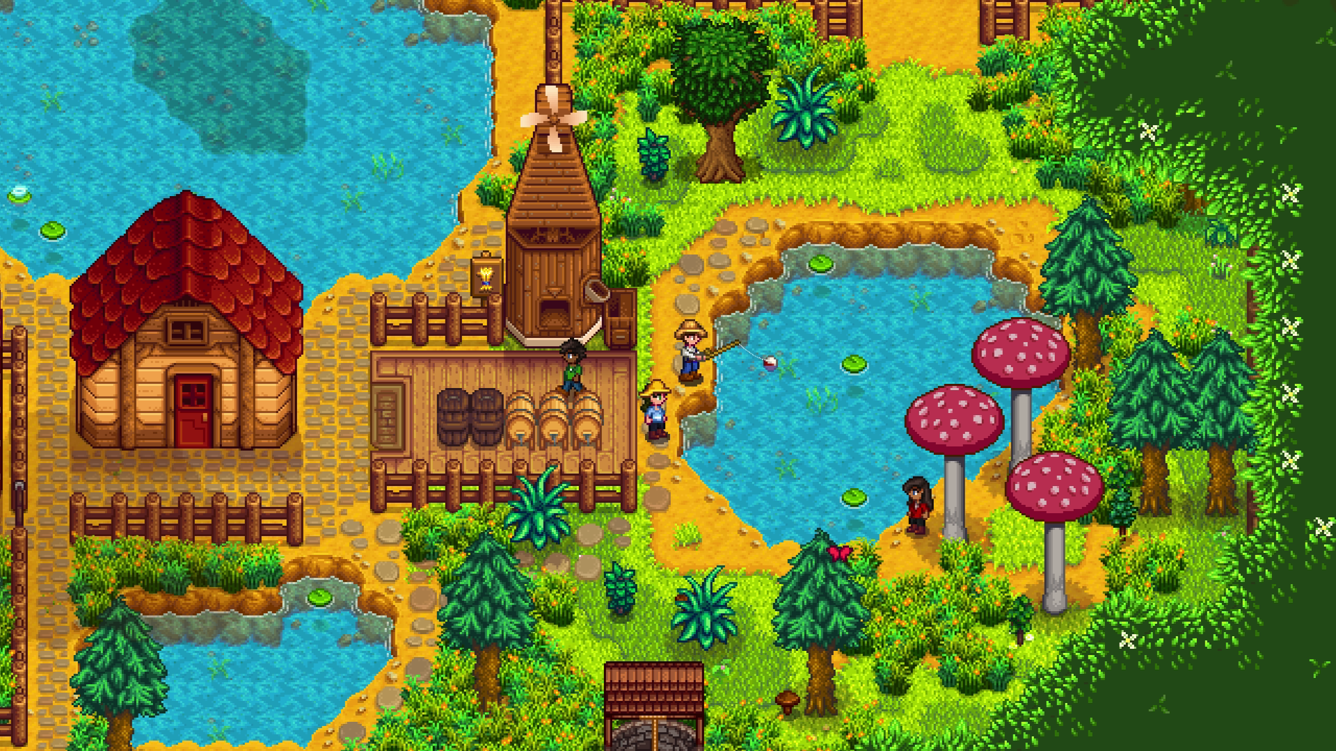 Players fish together in Stardew Valley's multiplayer mode