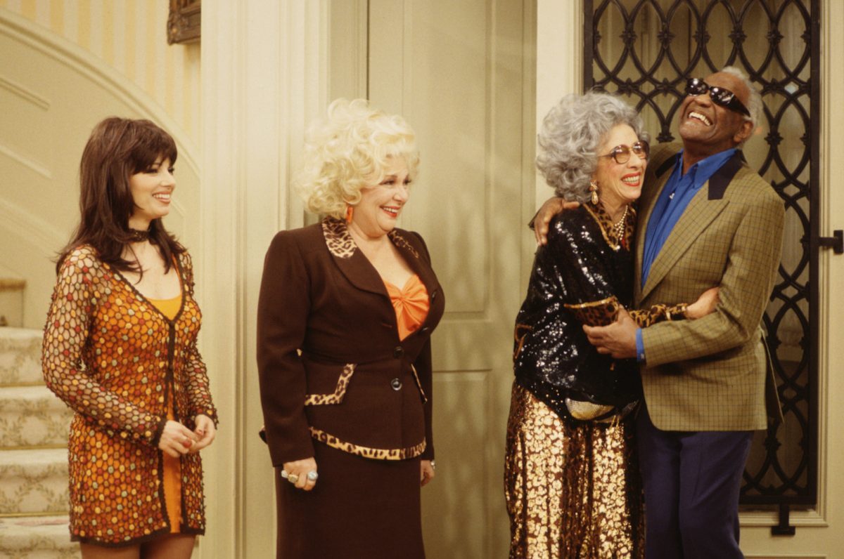 Fran Drescher (as Fran Fine);  Renee Taylor (as Sylvia Fine); Ann Morgan Guilbert (as Yetta Rosenberg) and Ray Charles (as Sammy Portnoy)