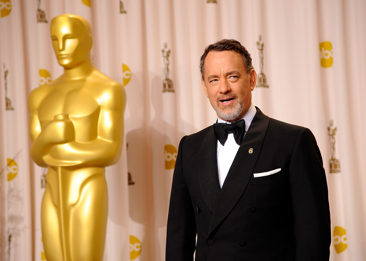 Tom Hanks poses in the press room at the 84th Annual Academy Awards on February 26, 2012, in Hollywood, California.