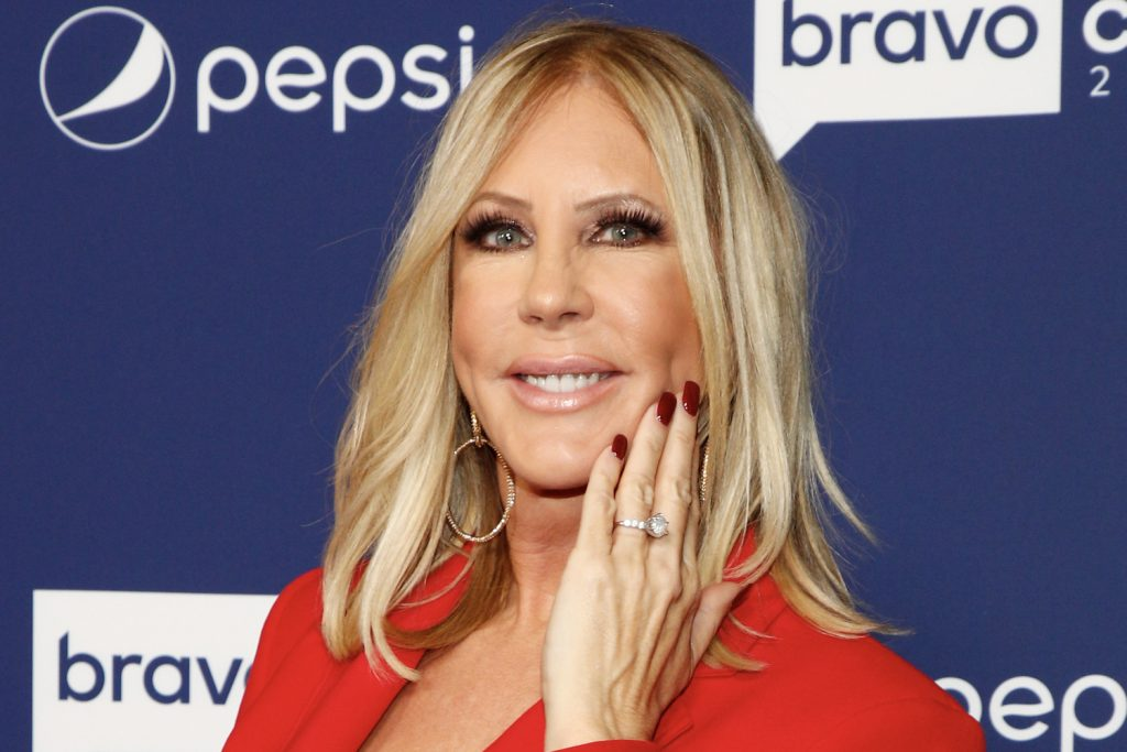 Vicki Gunvalson showing off her engagement ring at BravoCon