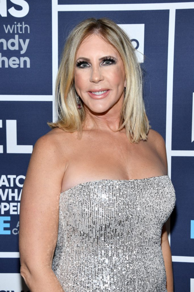 Vicki Gunvalson in a silver dress during an appearance on 'Watch What Happens Live' on Bravo