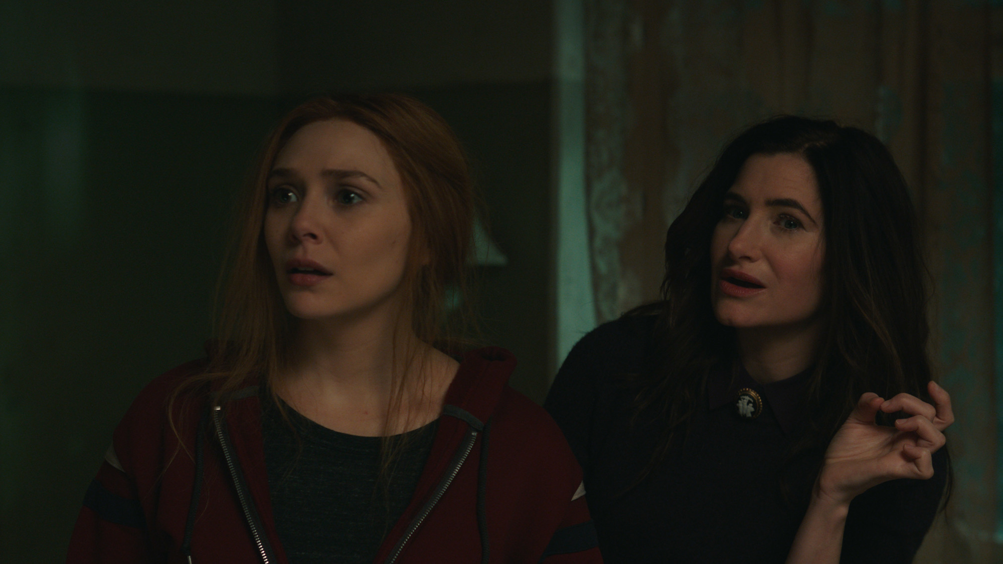 Elizabeth Olsen as Wanda Maximoff and Kathryn Hahn as Agatha Harkness in 'WandaVision