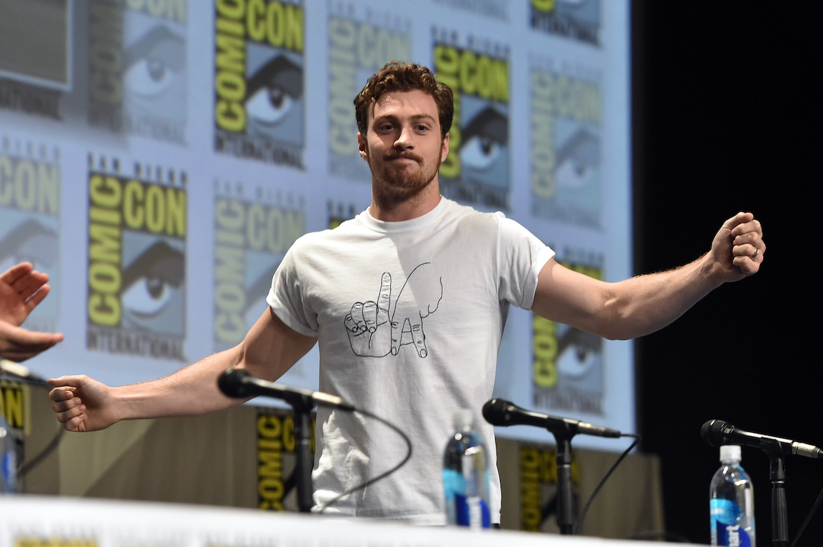 Aaron Taylor-Johnson onstage at Marvel's Hall H Panel for 'Avengers: Age Of Ultron' during Comic-Con International 2014