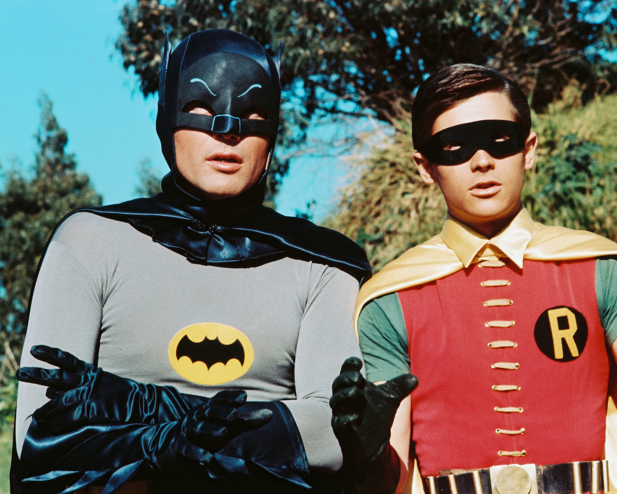 Adam West as Bruce Wayne/Batman and Burt Ward as Dick Grayson/Robin in the TV series 'Batman', circa 1966.