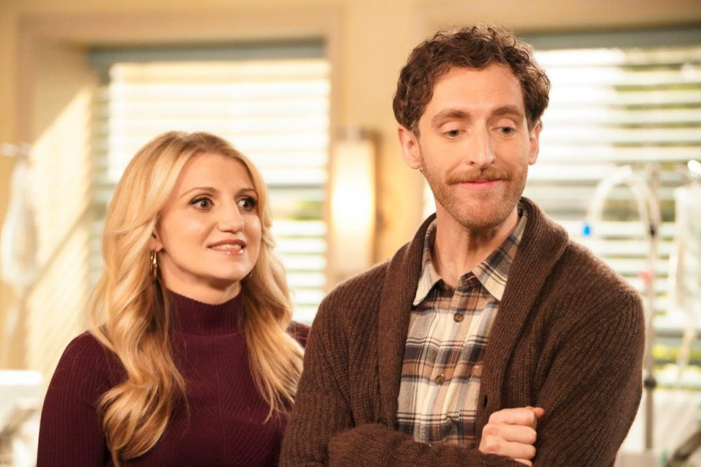 Annaleigh Ashford and Thomas Middleditch stand next to each other on 'B Positive'