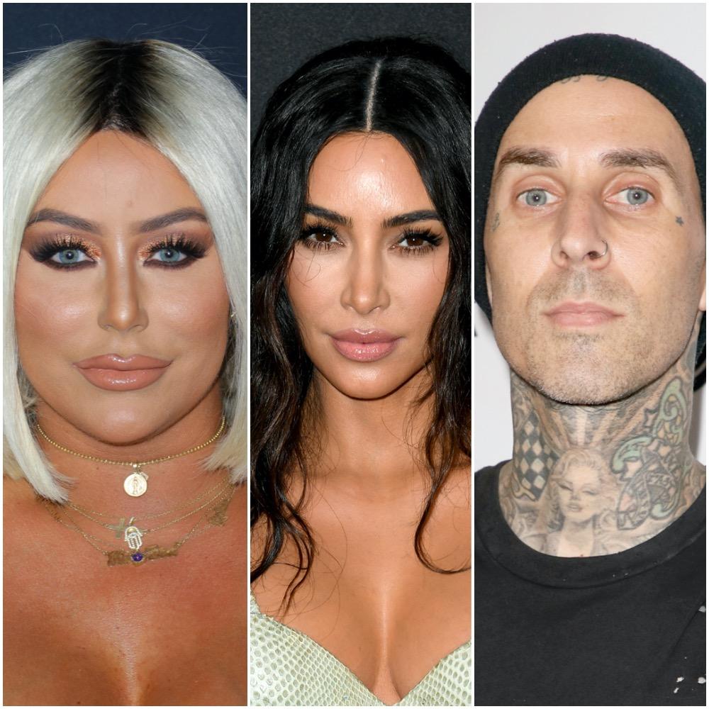 A photo collage of Aubrey O'Day, Kim Kardashian West, and Travis Barker