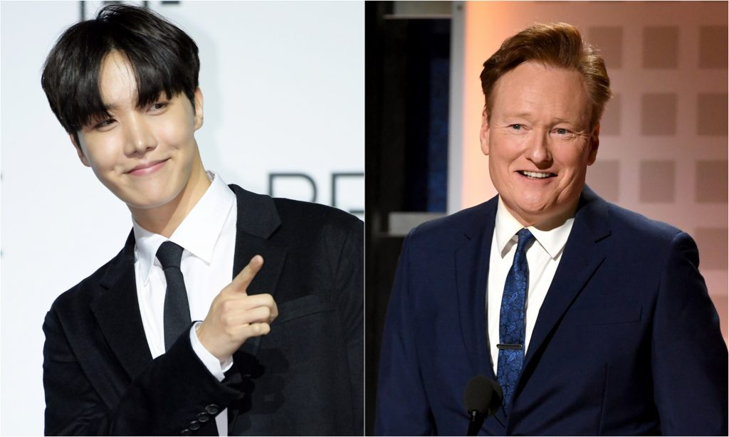 J-Hope of BTS during BTS' 'BE (Deluxe Edition)' press conference and Conan O'Brien during AARP The Magazine's 19th Annual Movies For Grownups Awards